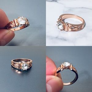 Luxurious Rose Gold Plated Wedding Ring Size: 7